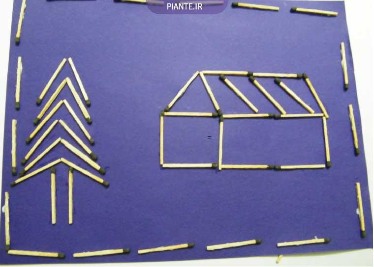 کاردستی با چوب کبریت روی کاغذ و مقوا