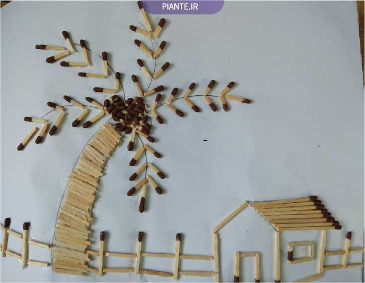کاردستی با چوب کبریت روی کاغذ