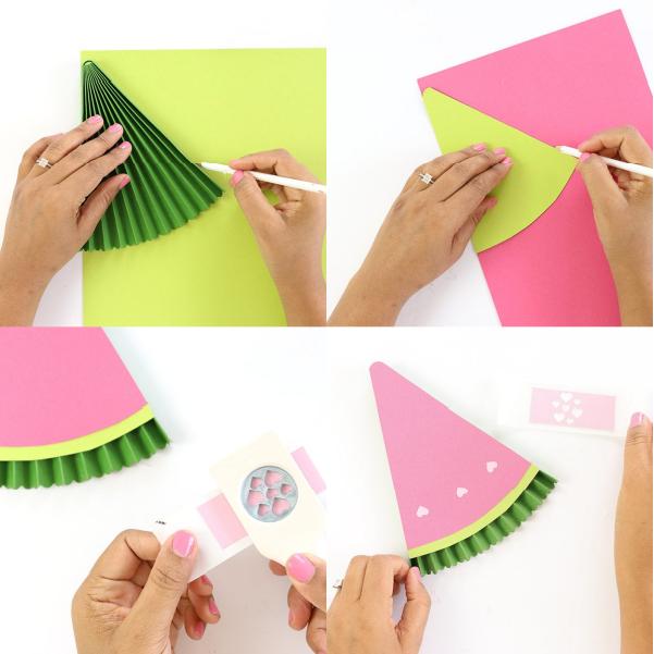 کاردستی بادبزنی هندوانه کاغذی